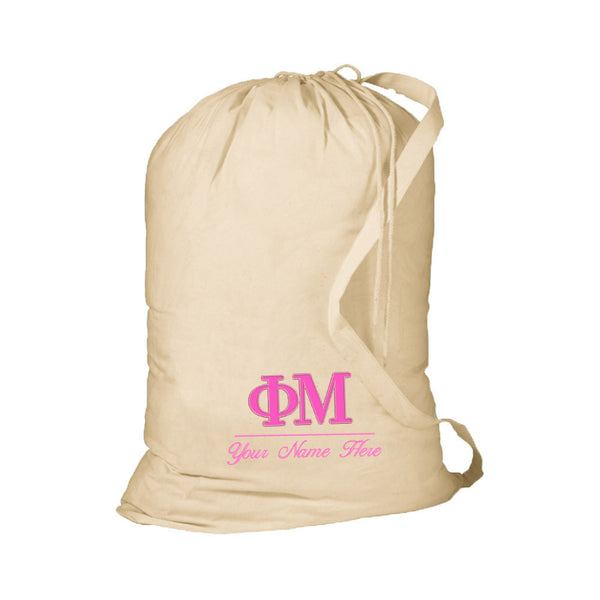 Personalized Sorority Laundry Bag with Shoulder Strap