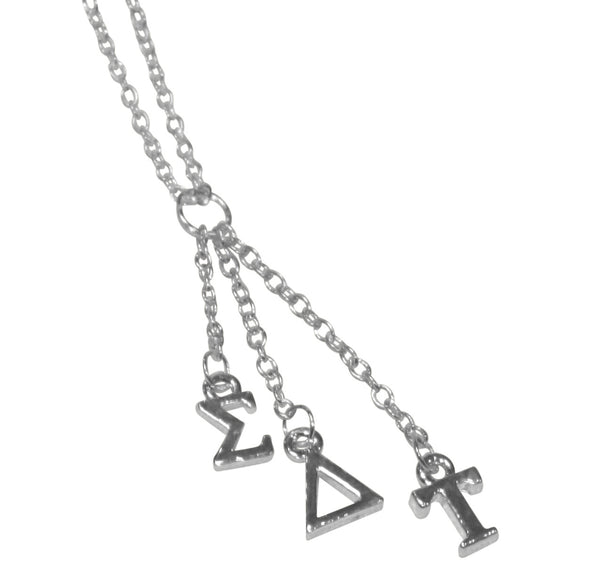 Sorority Silver Dangle Necklace