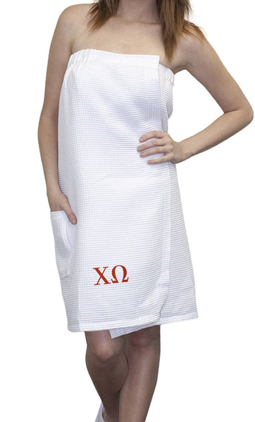 Sorority Embroidered Waffle Greek Letters Towel Wrap
