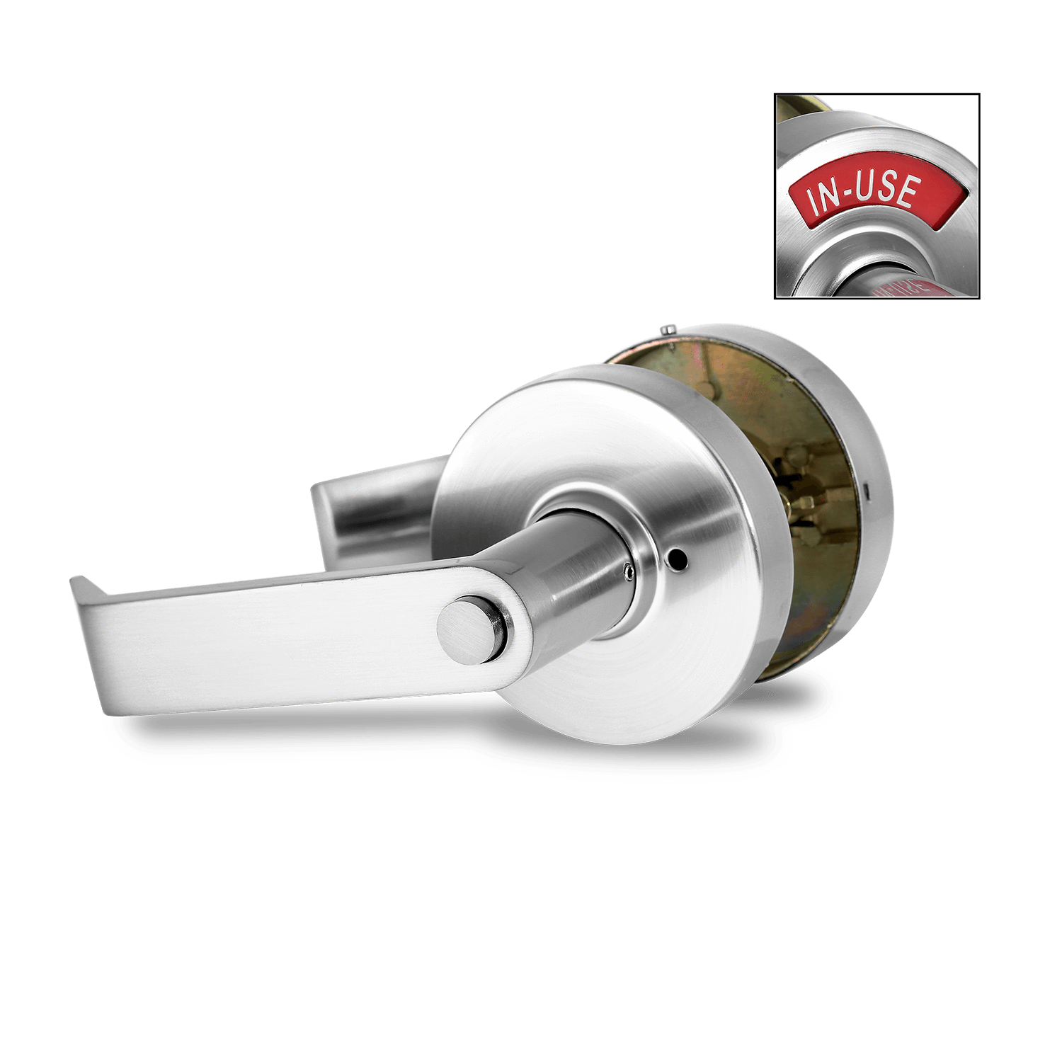 2.2 ADA Compliant. Commercial Grade – Privacy Indicator Lock and Lever in 26D Satin Chrome. Left-Handed (C5FS-L). NON-REVERSIBLE