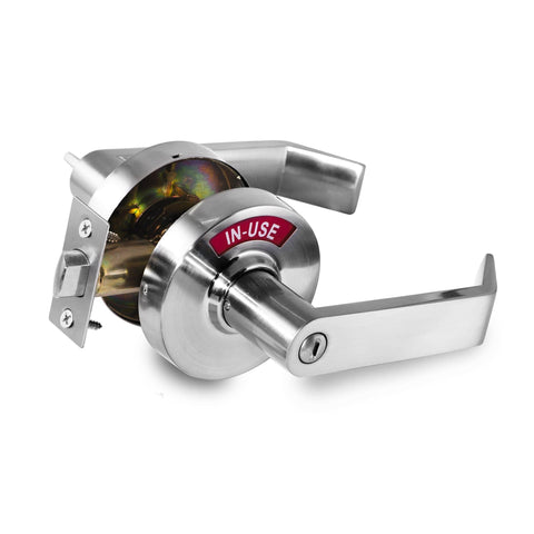 1. PRE-SALE. Availability at July 25. Commercial Grade Privacy Indicator Lock and Lever in 26D Satin Chrome similar to Brushed Nickel (C3FS).