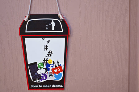 Bedroom Door Sign, funny teen privacy message, double-sided, dry-erase - Make Drama (C1FE)