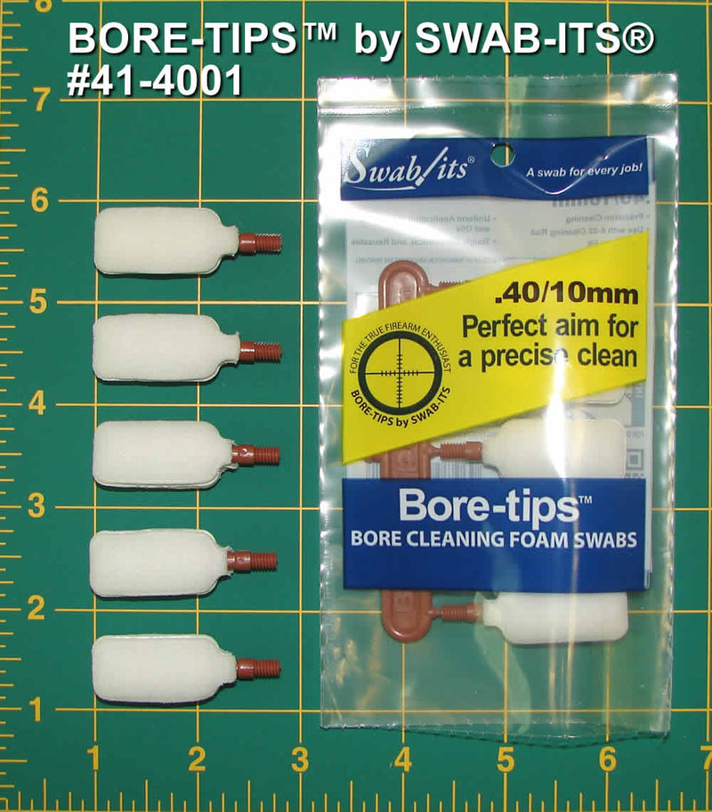 (Single Bag) .40cal/.44cal/10mm/410 Gauge Barrel Cleaning Bore-tips® by Swab-its®: Barrel Cleaning Swabs: 41-4001