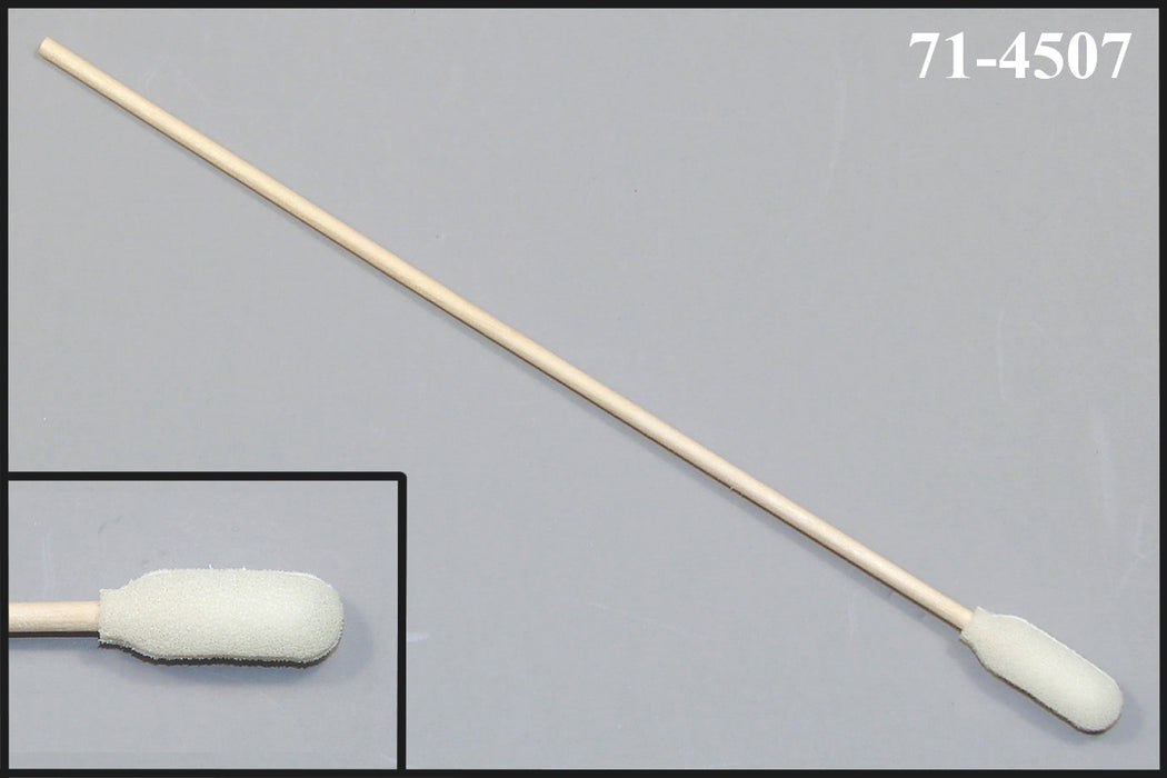 "(Bag of 500 Swabs) 71-4507: 6"" Overall Length Foam Swab with Narrow Foam Mitt Over Cotton Bud and Birch Wood Handle"