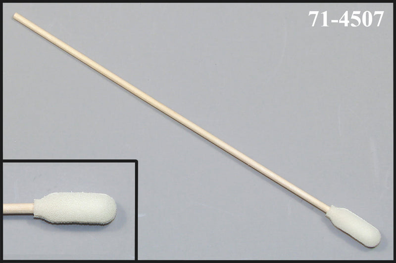 "(Bag of 50 Swabs) 71-4507: 6"" Overall Length Foam Swab with Narrow Foam Mitt Over Cotton Bud and Birch Wood Handle"