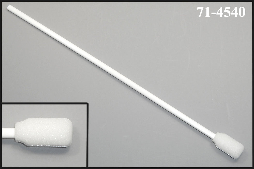 "(Bag of 50 Swabs) 71-4540: 9"" overall length swab with rectangular foam mitt on an extra-long polypropylene handle"
