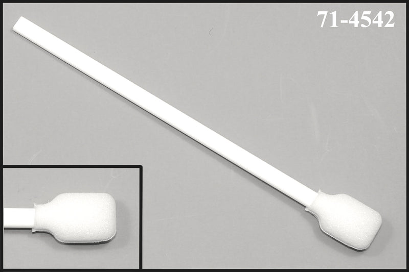 "(Bag of 50 Swabs) 71-4542: 6"" overall length swab with wide rectangular foam mitt and polypropylene handle."
