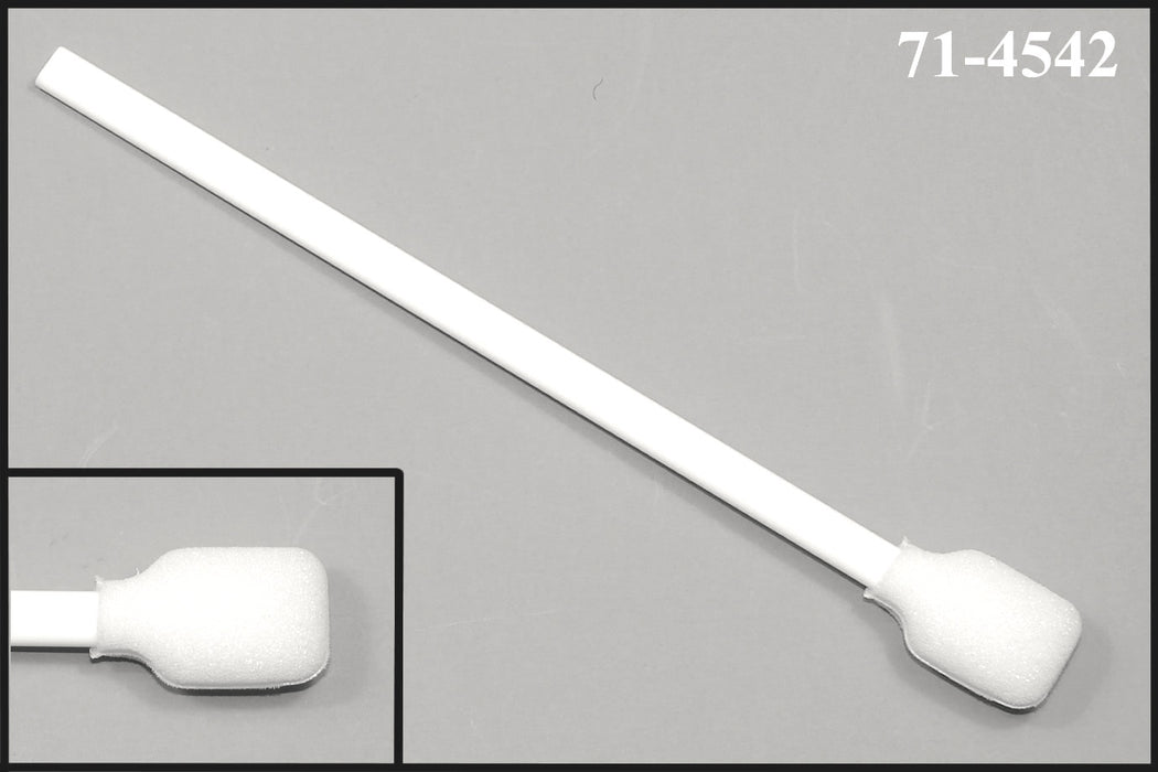 "(Case of 2,500 Swabs) 71-4542: 6"" overall length swab with wide rectangular foam mitt and polypropylene handle."