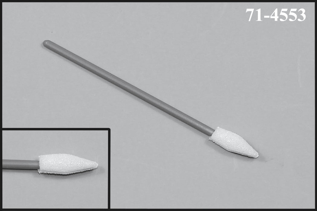 "(Bag of 500 Swabs) 71-4553: 2.83"" overall length swab with spear-shaped foam mitt on a tapered polypropylene handle."