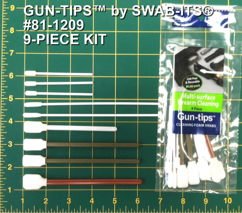 (Single Bag) 9-Piece Cleaning Foam Swab Kit by Swab-its®: Firearm Cleaning Swabs: 81-1209