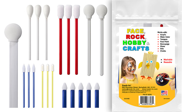 Svabb-its® Hobby-Tips™ 20-Piece Premium Applikator Kit Foam Tippade Crafting Applikatorer - Ansikte, Rock, Hobby, Målning, Hantverk