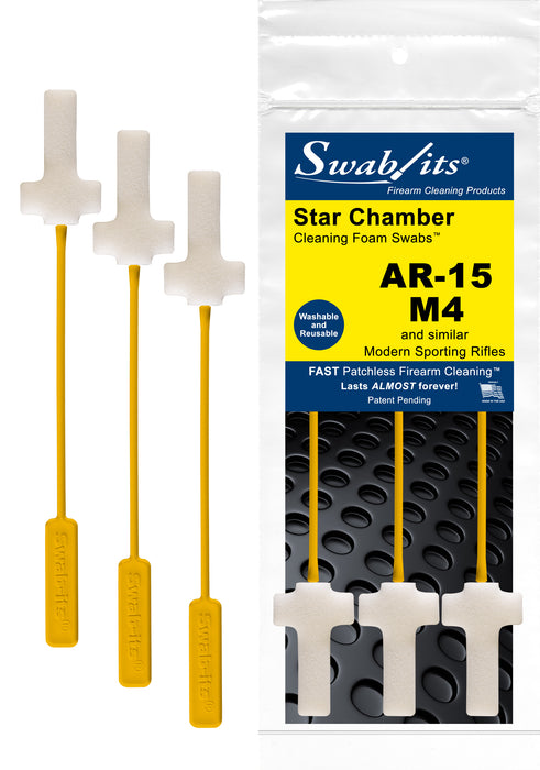 AR-15/M4 Star Chamber Cleaning Foam Swabs™ by Swab-its®: Star Chamber Cleaning