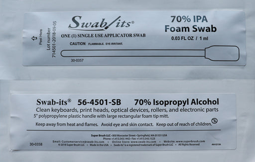 "56-4501-25-B: 5"" Large Rectangular Head 70% IPA Foil Wrapped Swab by Swab-its®"