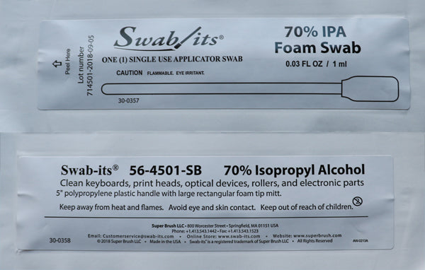 "(IPA SWABS) 5"" Large Rectangular Head 70% IPA Foil Wrapped Swab by Swab-its®: 56-4501-SB-25"