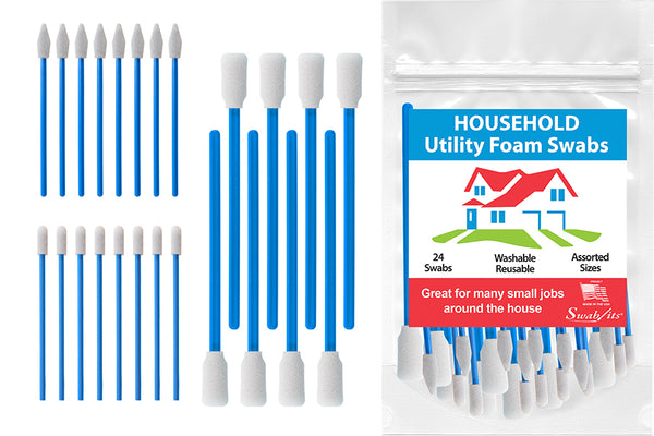 Swab-its® 24-piece Package of Household Utility Foam Swabs: 87-8201