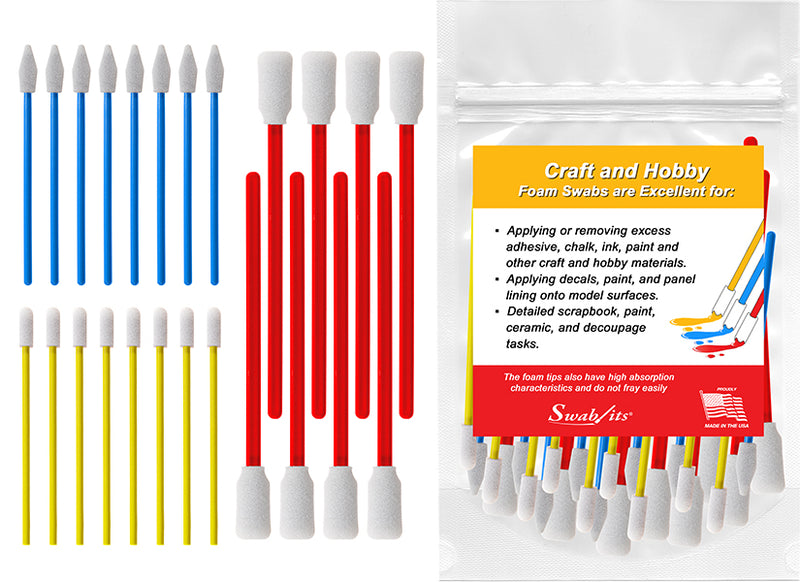 Swab-its® 24-piece Package of Craft & Hobby Multi-Purpose Foam Swabs: 87-8202