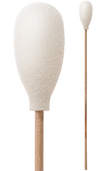 "(Case of 2,500 Swabs) 71-4509: 6"" Overall Length Swab with Teardrop Shaped Mitt Over Cotton Bud and Birch Wood Handle"