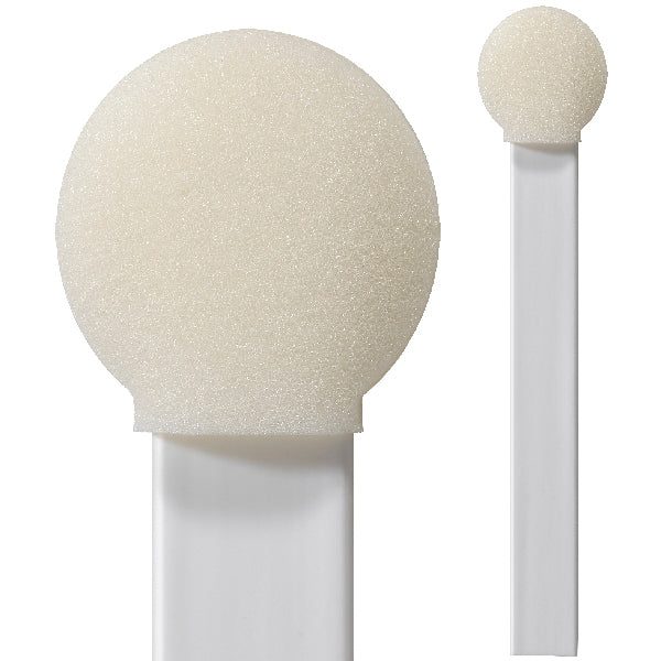 "(Bag of 200 Swabs) 71-4551: 6"" overall length swab with circular foam mitt on flat on a flat polypropylene handle"