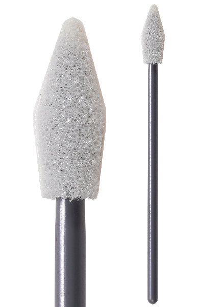 "(Case of 2,500 Swabs) 71-4553: 2.83"" overall length swab with spear-shaped foam mitt on a tapered polypropylene handle."