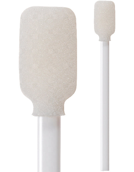 "71-4576: 4.06"" rectangular foam mitt swab. White reticulated polyurethane foam on an extruded polypropylene plastic handle."