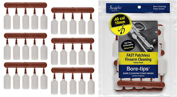 .40cal/.44cal/10mm/410 Gauge Gun Cleaning Bore-tips® by Swab-its®: Barrel Cleaning Swabs