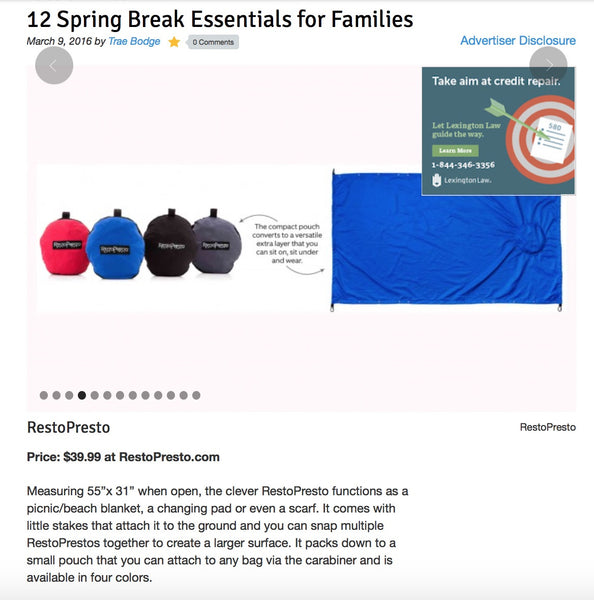 RestoPresto featured in TrueTrae's 12 Spring Break Essentials for Families