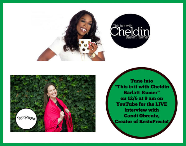 "Watch Candi Obrentz talk about entrepreneurship & RestoPresto on ""This is It with Cheldin Barlat-Rumer""."