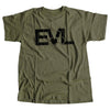 Olive Green EVL T-Shirt with Black Logo