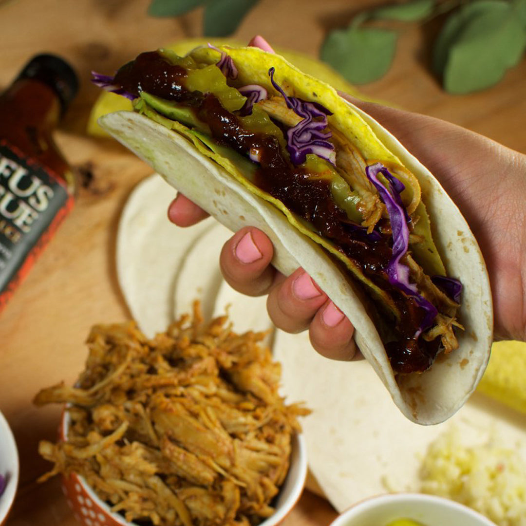 Pulled Chicken BBQ Double Decker Tacos