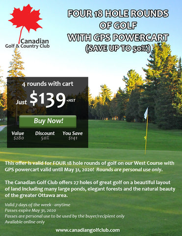 Super Deal - Four 18 Hole Rounds with Powercart just $139! Personal use Only! -  Ottawa Golf Course Specials