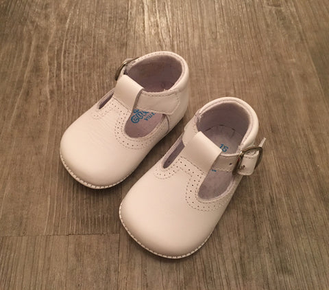 Citos White T-Bar Pram Shoes