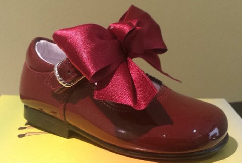 Bambi Julieta Burgundy Bow  Mary Janes