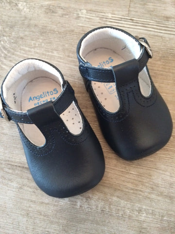 Citos Navy T-Bar Soft Pram Shoes