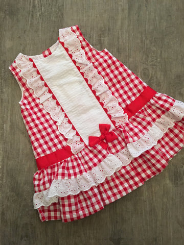 Red and White Check Dress