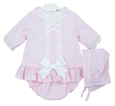 Pink and White Dotty Bow Dress with Knickers and Bonnet