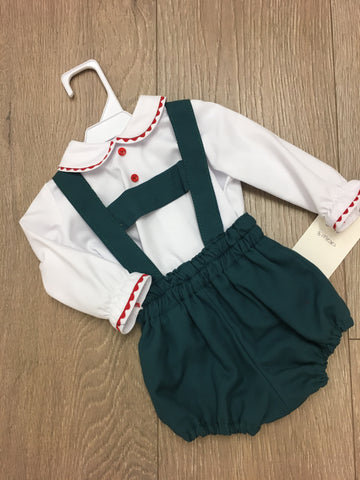 White Shirt with Green H Bar Set