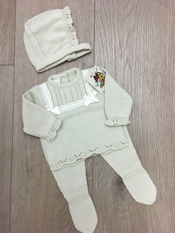 Beige with Camel Trim Bow Knitted 3 Piece