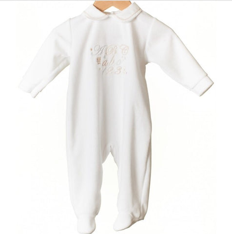White Unisex ABC Velour Sleepsuit