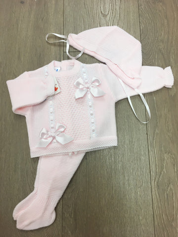 Pink Bow Knitted 3 Piece Set