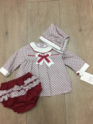 Burgundy Dot Dress with Frill Knickers and Bonnet