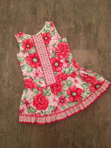Cerise Flower Drop Waist Dress