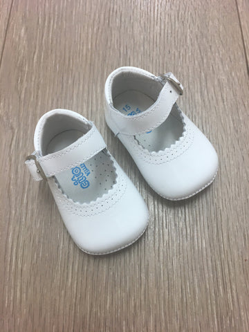Citos White Patent Leather Pram Shoes
