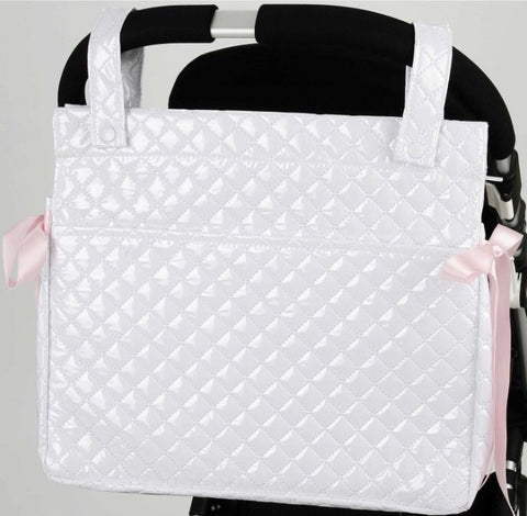 White Quilted Changing Bag with Pink Bows for the Pram
