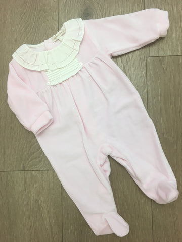 Pink Velour Sleepsuit with Cream Frill Collar