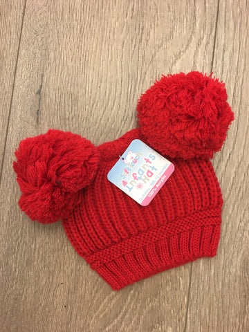 Red Double Pom Pom Hat