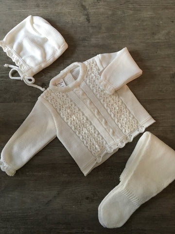 Cream Unisex Knitted Set