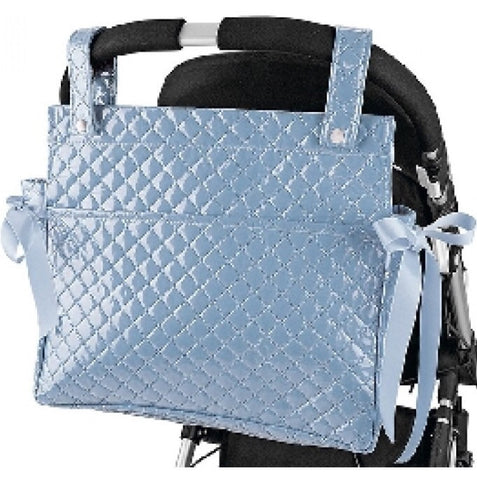Blue Quilted Changing Bag with Blue Bows for the Pram