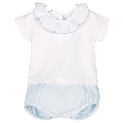 White Frill Collar with Baby Blue Jam Pants
