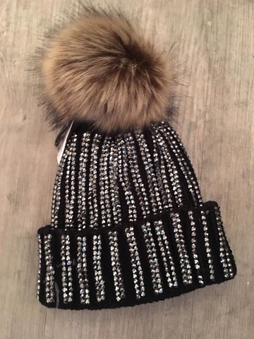 Black Diamonte Faux Fur Pom Pom Hat