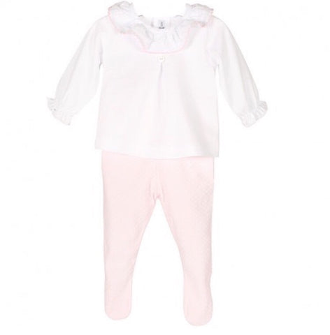 White Frill Collar with Pink Leggings